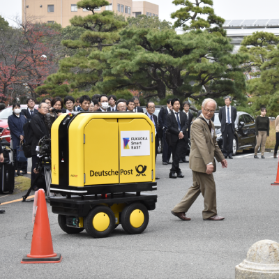 Demonstration of automated package delivery robot successfully carried out